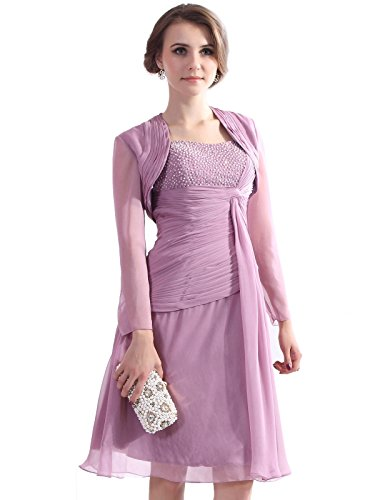 COCOMELODY Women's Jacket Knee Length Chiffon Mother of Bride Dress D12008