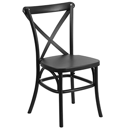 HERCULES Series Black Resin Indoor-Outdoor Cross Back Chair with Steel Inner Leg (Resin Outdoor Stacking Chairs compare prices)
