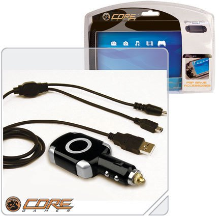 3-in-1 PSP Car Charger, USB Charger and Data Transfer Cable