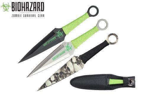 Biohazard 9' 3 Pcs Set Zombie Throwing Knife