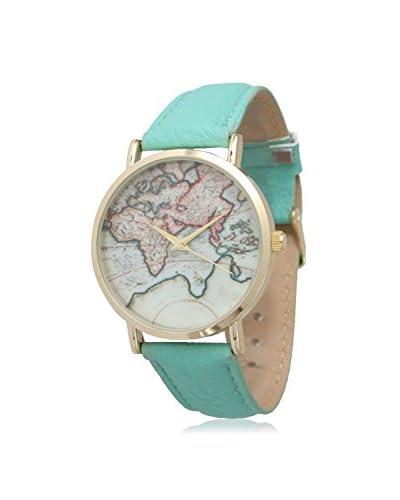 Olivia Pratt Women's 13289 Travelers Mint/Vintage Map Print Leather Watch