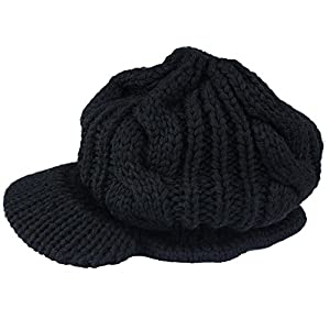 Ibeauty(TM) Black Women Lady Beanie Crochet Hat Fashion Winter Warm Knit Wool Beanie Peaked Hat