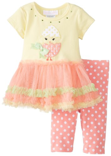 Bonnie Baby Baby-Girls Newborn Chick Applique Tutu With Capri, Yellow, 6-9 Months front-1050108
