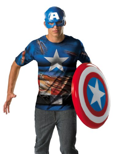 Captain America Costume T-Shirt and Mask Easy Outfit Theatrical Mens Costume