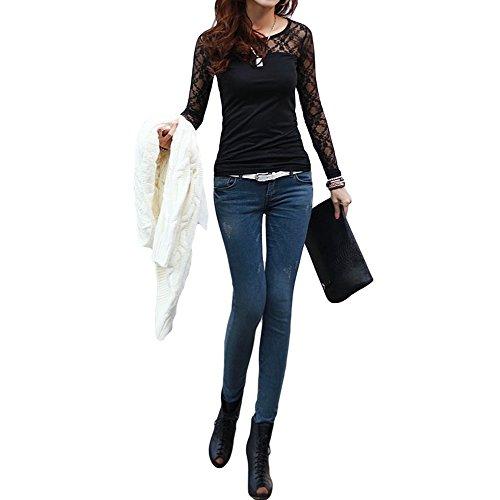 OxGrow (TM) Donna T-Shirt elasticizzato floreale pizzo Patchwork o collo a maniche lunghe Slim Fit semplice Tops Camisetas Femininas Nero/Bianco, Black, M
