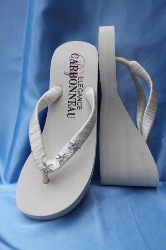 cf95c749913bd High Ivory Wedge Bridal Flip Flop Sandals with Rhinestone Starfish