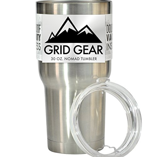 30 oz Tumbler, Double Wall Vacuum Insulated Stainless Steel, Grid Gear Nomad