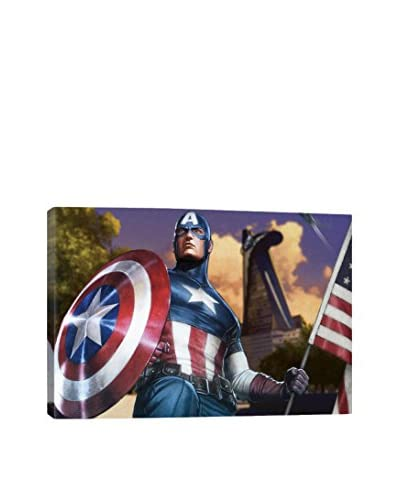 Captain America with a Flag Gallery-Wrapped Canvas Print  [Multi]