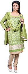Raahi Unstitched Green Cotton Embroidered Dress Material - Salwar Suit