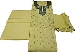 Alankar Textiles Panjabi Suit Piece Yellow Color Cotton Dress Material