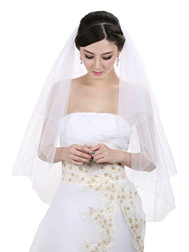 2T 2 Tier Pencil Edge Center Gathered Bridal Wedding Veil - White Fingertip Length 36