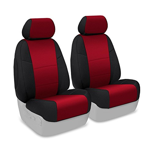 Coverking Front 50/50 Bucket Custom Fit Seat Cover For Select Toyota Land Cruiser Models - Neoprene (Red With Black Sides) front-1068868