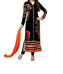 Poonam Fab-Unstitch Dress Material_Black_Rose_suit