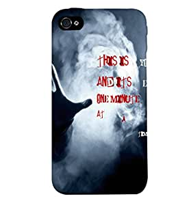 Fuson Smoky Hand Back Case Cover for APPLE IPHONE 4 - D3640
