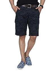 Hammock Men's Palm Leaf Print Cargos Shorts - Indigo (34), H21D35J50634
