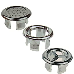 Promotion! Super More Set of Bathroom Sink Basin Trim Overflow Insert in Cover Silver Style 1 2 3 Total 3 pairs