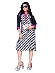 Tulip Collections Women's Cotton Straight Kurta,Blue&Pink_XL