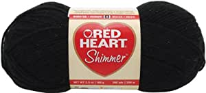 Red Heart E763.1012 Shimmer Yarn, Solid, Black
