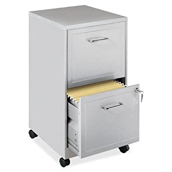 Lorell 16873 2-Drawer Mobile File Cabinet, 18-Inch Depth - Gray