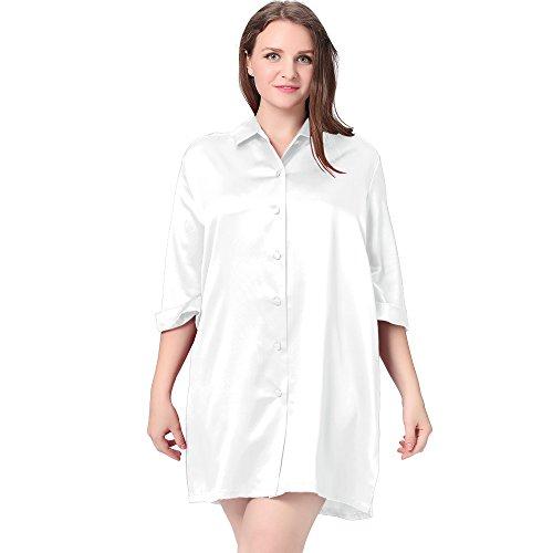 LilySilk Seide Nachthemd Nachtshirt Sexy in Großen Größen 22 Momme Weiß 3X