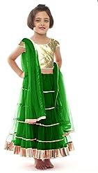 Awesome Fab Green Colour Soft Net Semi-stitched Laced Lehenga Choli
