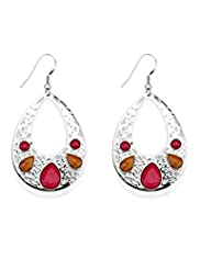 Gem Embellished Oval Drop Earrings
