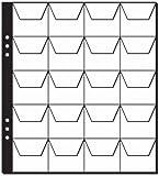 Aulfes 2155-05 - Münzenhüllen klar Plastik, 20 Fächer, mit schwarzen Zwischenblättern, 5 Stück