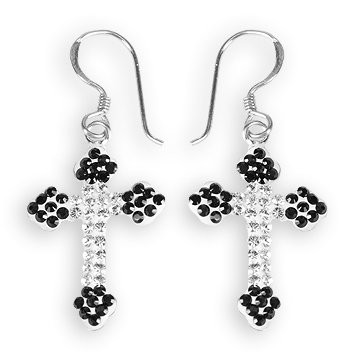 Ashley Arthur .925 Silver Black & White Crystal Cross Earrings Made with Swarovski Elements