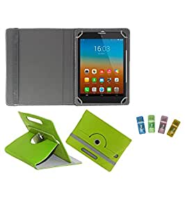 Gadget Decor (TM) PU Leather Rotating 360° Flip Case Cover With Stand For UNI 17.7cm + Free USB Card Reader - Green
