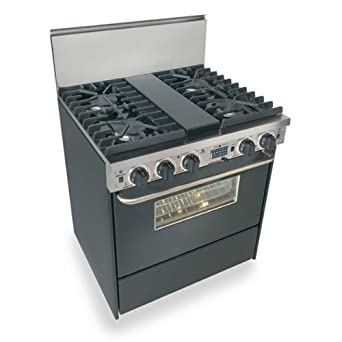"""TTN-287-W 30"""" Pro-Style Dual-Fuel Natural Gas Range with 4 Sealed Ultra High-Low Burners 3.69 cu. ft. Convection Oven and Self-Cleaning"""