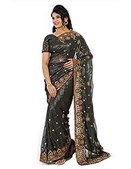 Designersareez Women Faux Georgette Embroidered Black Saree With Unstitched Blouse(354)