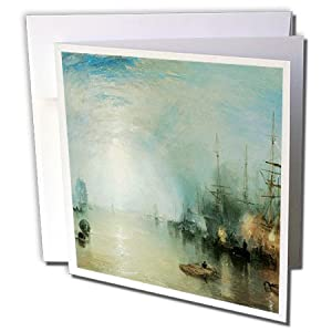 BLN Sailing Ships and Seascapes Fine Art Collection - Keelman Heaving in Coalt by Moonlight by J. M. W. Turner - 12 Greeting Cards with envelopes (gc_126841_2)