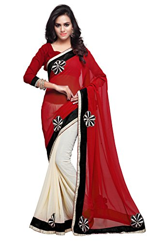 Sourbh Sarees Women's Red and Cream Faux Georgette and Chiffon Saree with Unstitched Blouse Piece