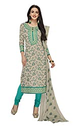 PShopee Light Green Printed Unstitched Cotton Salwar Suit Dress Material