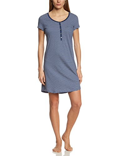 Marc O'Polo Body & Beach Damen Nachthemd SLEEPSHIRT HENLEY, Gr. 42 (Herstellergröße: XL), Blau (jeansblau 816)