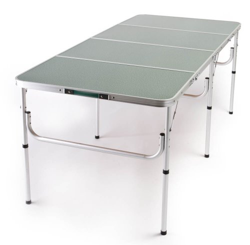 "The Original ""Quadra Four"" Lightweight Aluminum Portable Folding Table 71"" L x 32"" W x 28"" H or 15"" H and Table Cover"