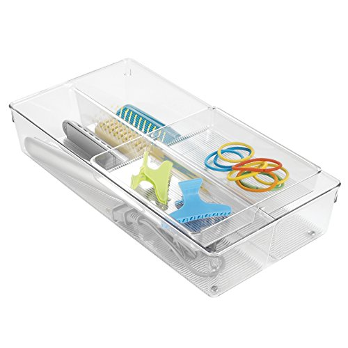 mDesign 2-Piece Sliding Vanity Drawer Organizer for Hair Brushes, Combs, Flat Irons, Accessories - Clear (3 8 Inch Flat Iron compare prices)
