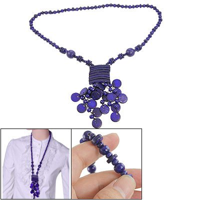 Rosallini Rectangle Pendant Button Bead String Lady Coco Necklace