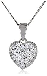 Sterling Silver Swarovski Zirconia Pave Heart Pendant Necklace, 18""