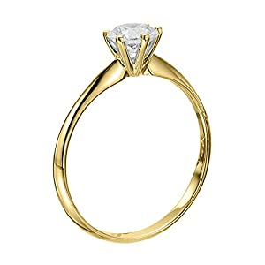 IGI Certified 14k yellow-gold Round Cut Diamond Engagement Ring (0.50 cttw, J Color, VS2 Clarity)