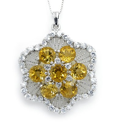 100% Genuine 6mmX6mm Citrine CZ 925 Silver Platinum Plating LUXURY Huge Necklace Gem Jewellery