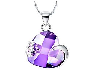 findout or blanc 18 carats plaqué Autriche grab améthyste votre argent de collier de coeur