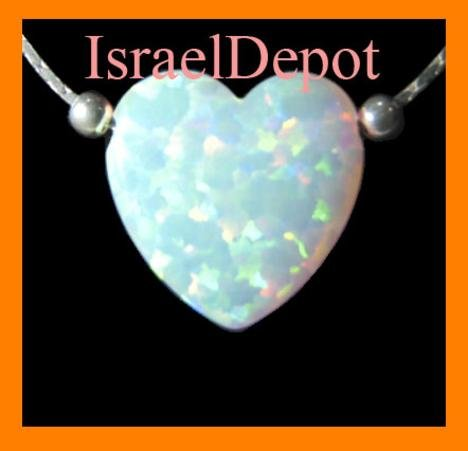 White Big Opal Heart Pendant 925 Silver Chain Necklace