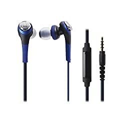 Audio-Technica Solid Bass ATH-CKS550ISBL In-Ear Headphones with Mic (Blue)