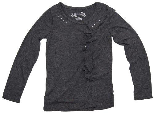 Kids Shop Little Girls Long Sleeve Ruffle Top S(4) Grey front-127051