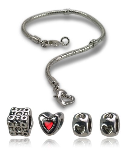 Balalabeads 20cm bracelet starter pack - Beautiful silver plated carrier bracelet and four metal spacer beads.