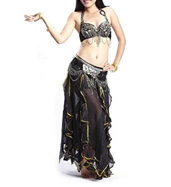 Belly Dance Costume, Tribal Bra and Lotus Leaf Skirt Set: Clothing