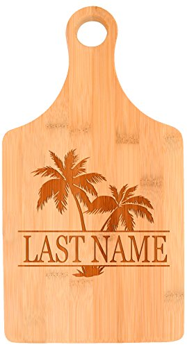 Customized Last Name Palm Tree Beach Wedding Gift Personalized Paddle Shaped Bamboo Cutting Board