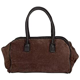 Maxam Brown Suede Satchel Bag Handbag Purse