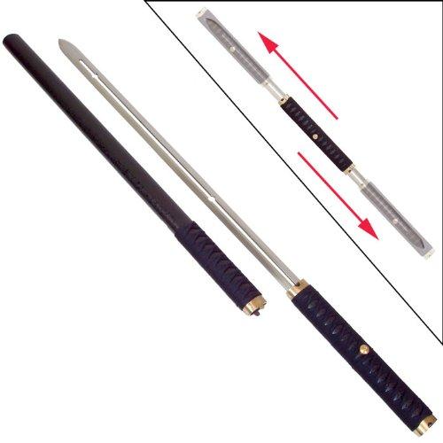 Whetstone Cutlery Two Blade Ninja Sword With Sliding Handle And Wood Scabbard